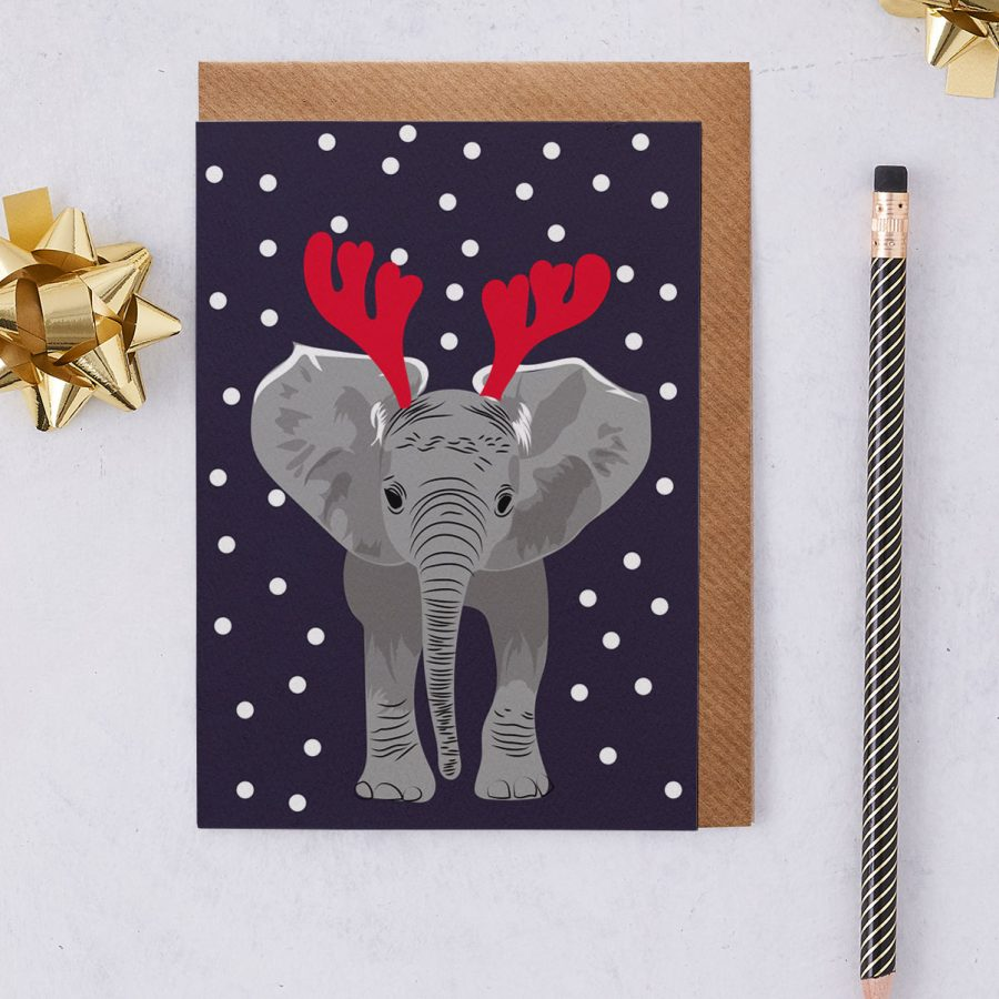 Christmas Card Luxury Designer Personalised Message Sustainable Environmentally Friendly FSC Paper Plastic Free - christmas elephant - christmas greetings card - antlers - stationery