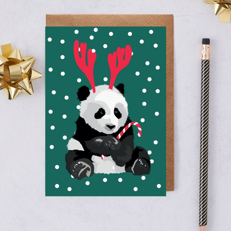 Christmas Card Luxury Designer Personalised Message Sustainable Environmentally Friendly FSC Paper Plastic Free - Christmas panda called jenny