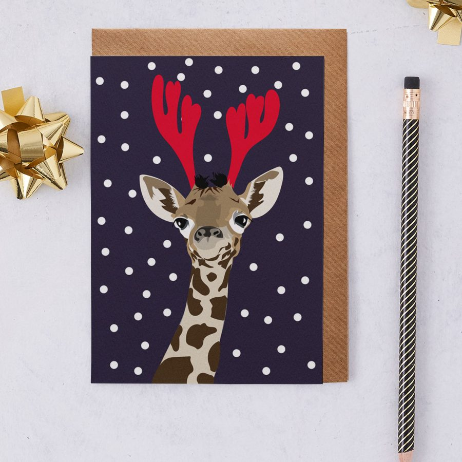 Christmas Card Luxury Designer Personalised Message Sustainable Environmentally Friendly FSC Paper Plastic Free - christmas giraffe - christmas greetings card - antlers - stationery