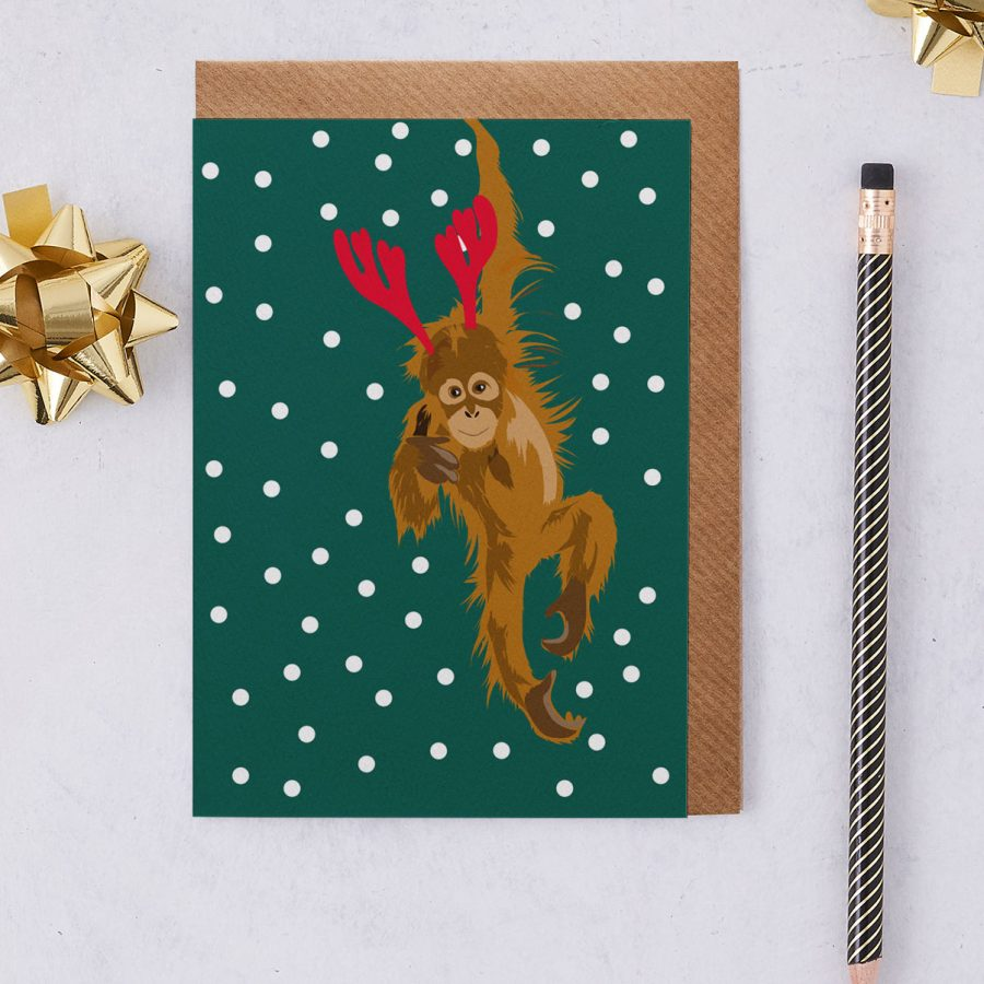 christmas monkey - christmas greetings card - antlers - stationery