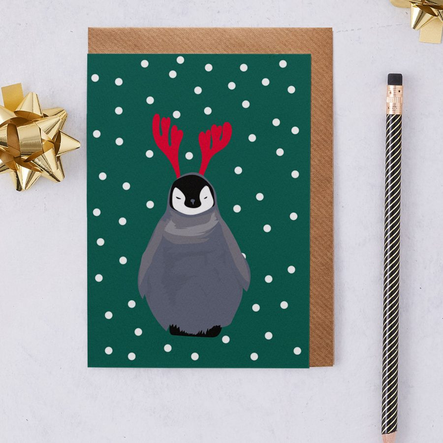 Christmas Card Luxury Designer Personalised Message Sustainable Environmentally Friendly FSC Paper Plastic Free - christmas penguin - christmas greetings card - antlers - stationery
