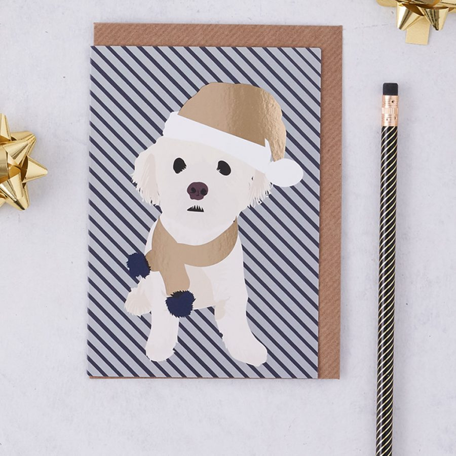 Christmas Card Luxury Designer Personalised Message Sustainable Environmentally Friendly FSC Paper Plastic Free - Christmas Alfie - christmas greetings card - Dog - stationery