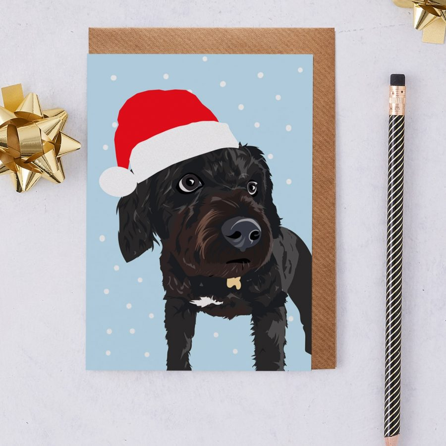 Christmas Card Luxury Designer Personalised Message Sustainable Environmentally Friendly FSC Paper Plastic Free - Christmas Black Cockapoo
