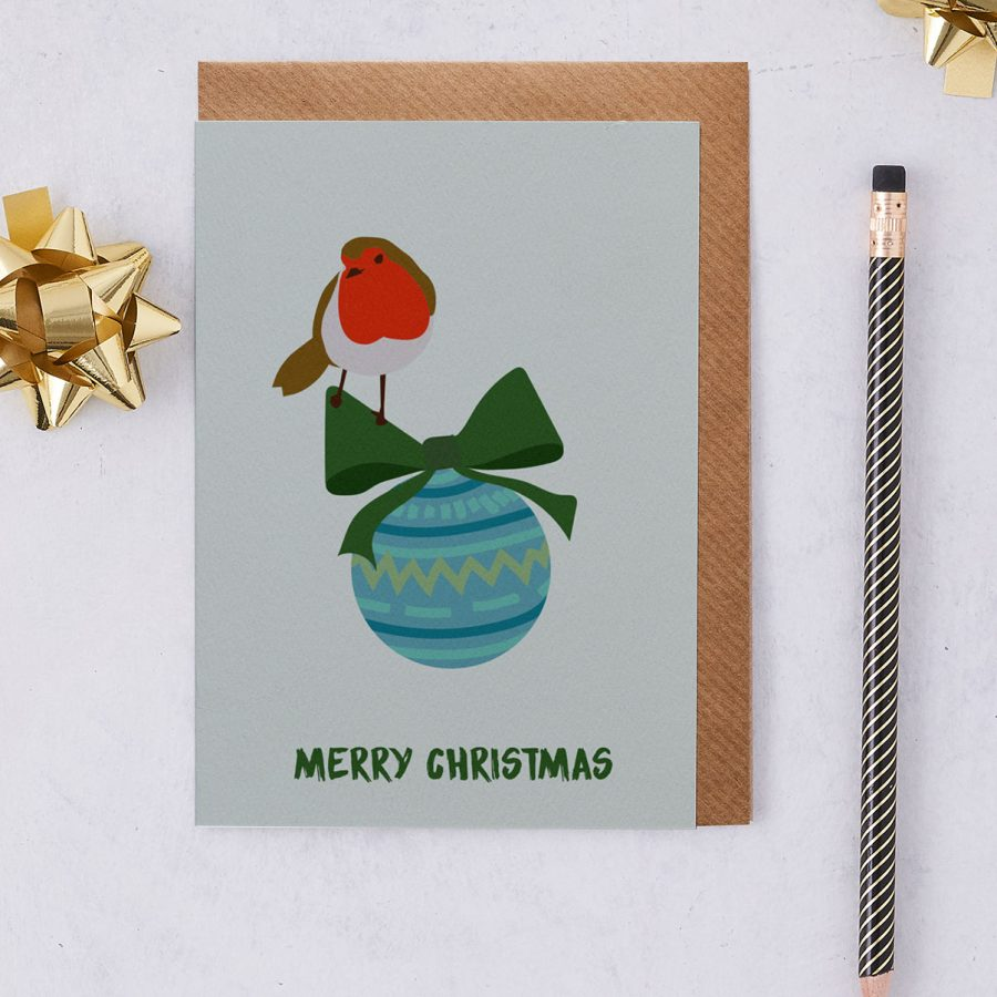 Christmas Card Luxury Designer Personalised Message Sustainable Environmentally Friendly FSC Paper Plastic Free - Merry Christmas Bauble - christmas greetings card - Robin Red Breast - British - stationery