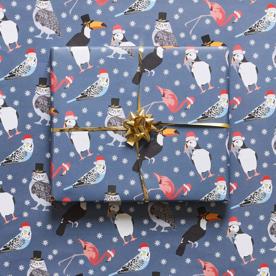 christmas bird wrapping paper - christmas stationery - lorna syson - tropical bird watching