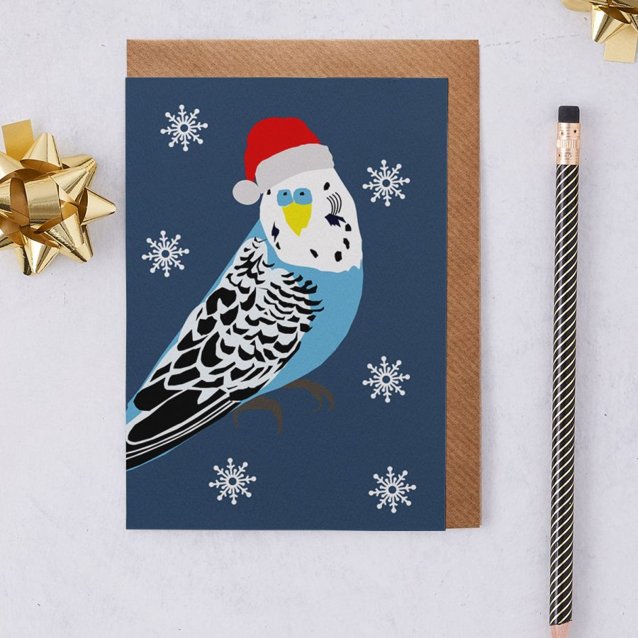Christmas Card Luxury Designer Personalised Message Sustainable Environmentally Friendly FSC Paper Plastic Free - christmas budgie