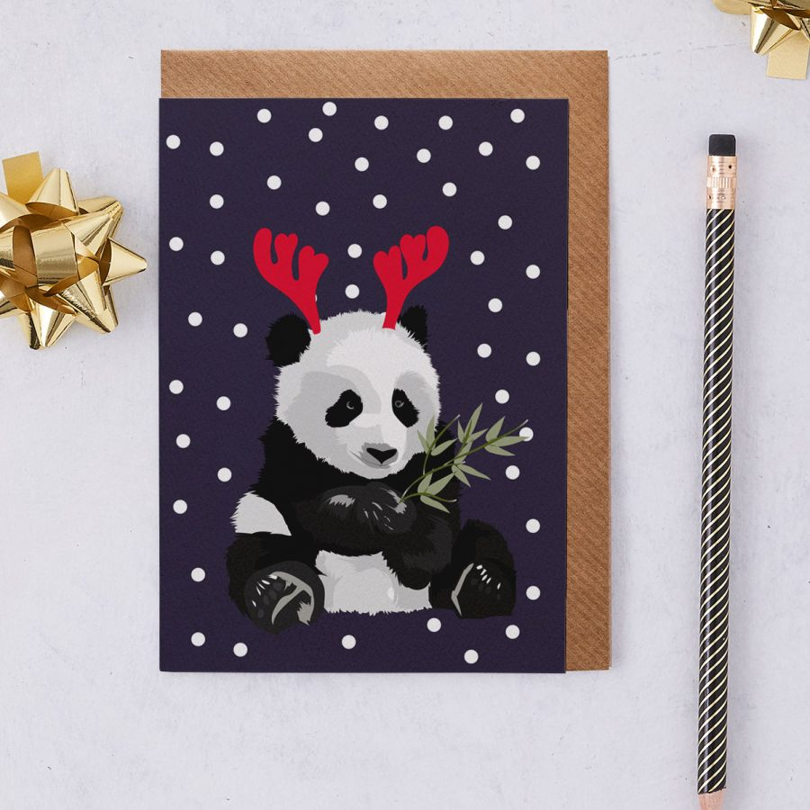 christmas panda - christmas greetings card - antlers - stationery