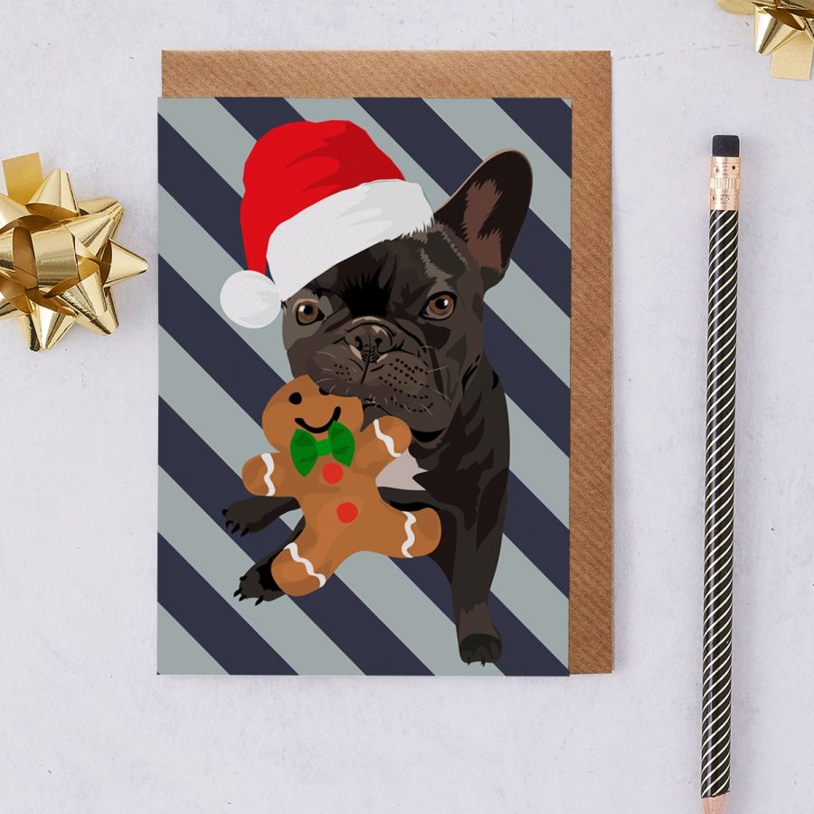 Christmas french bull dog greeting card wearing a santa hat and gingerbread man