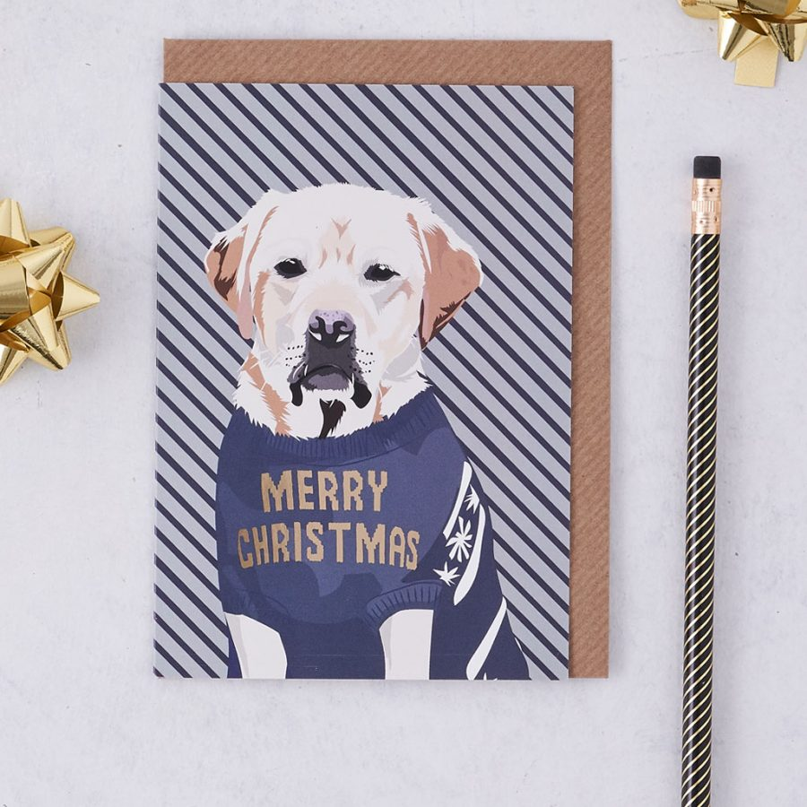 Christmas Card Luxury Designer Personalised Message Sustainable Environmentally Friendly FSC Paper Plastic Free - Christmas Tavis - christmas greetings card - Dog - golden retriever - tavis - stationery