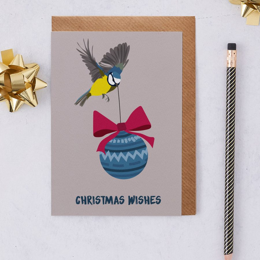 Christmas Card Luxury Designer Personalised Message Sustainable Environmentally Friendly FSC Paper Plastic Free - Christmas Wishes Blue Tit - christmas greetings card - Blue Tit - British - stationery