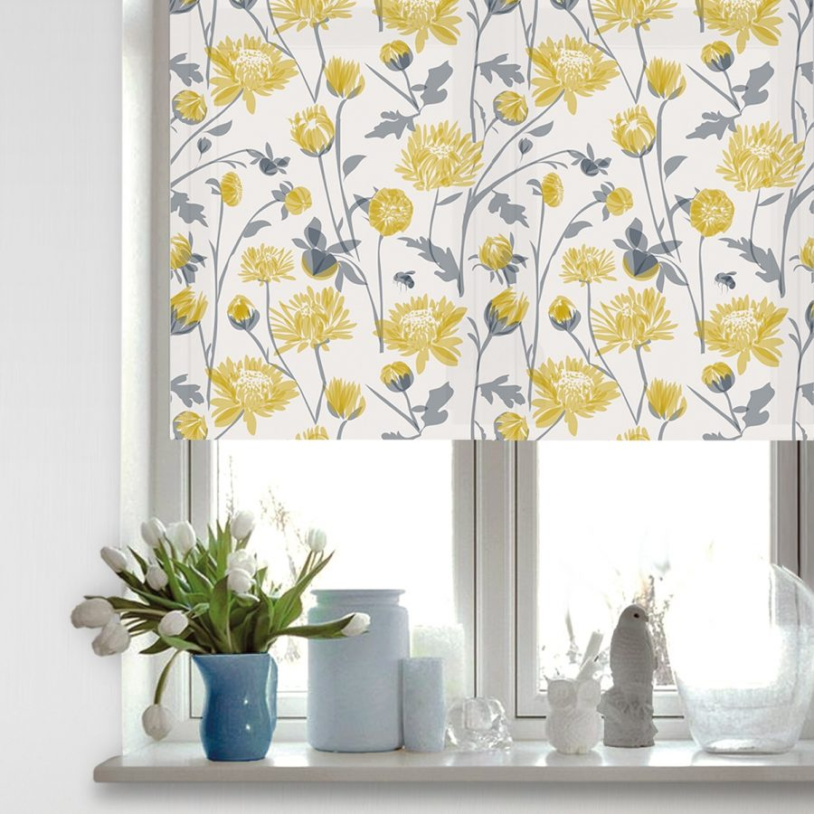 chrysanthmum roller blind - chrysanthemum flower - lorna syson homeware