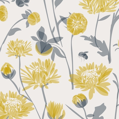 Yellow floral wallpaper - bees and chrysanthemum - Lorna Syson