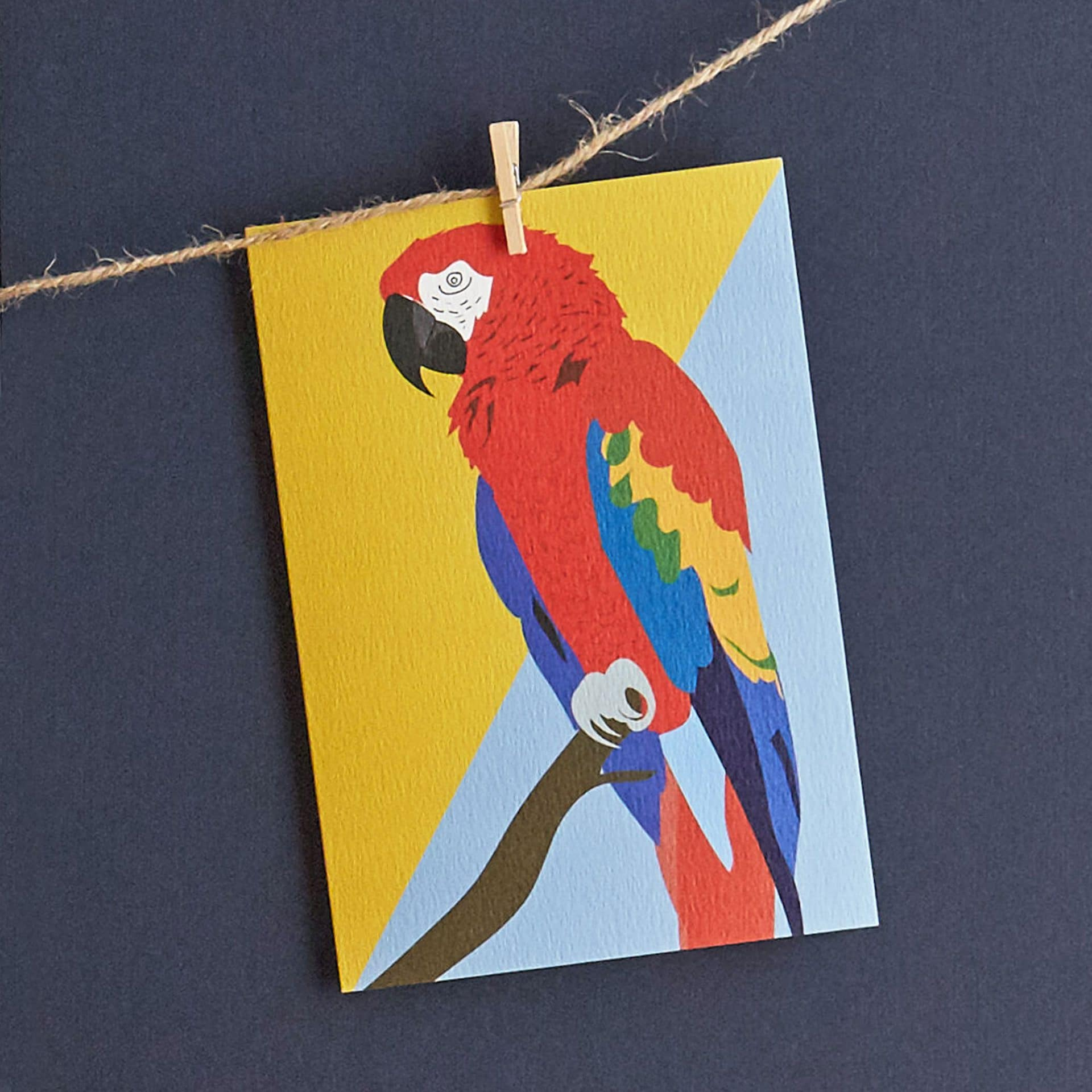 CoCo the macaw greetings card designed by Lorna Syson.