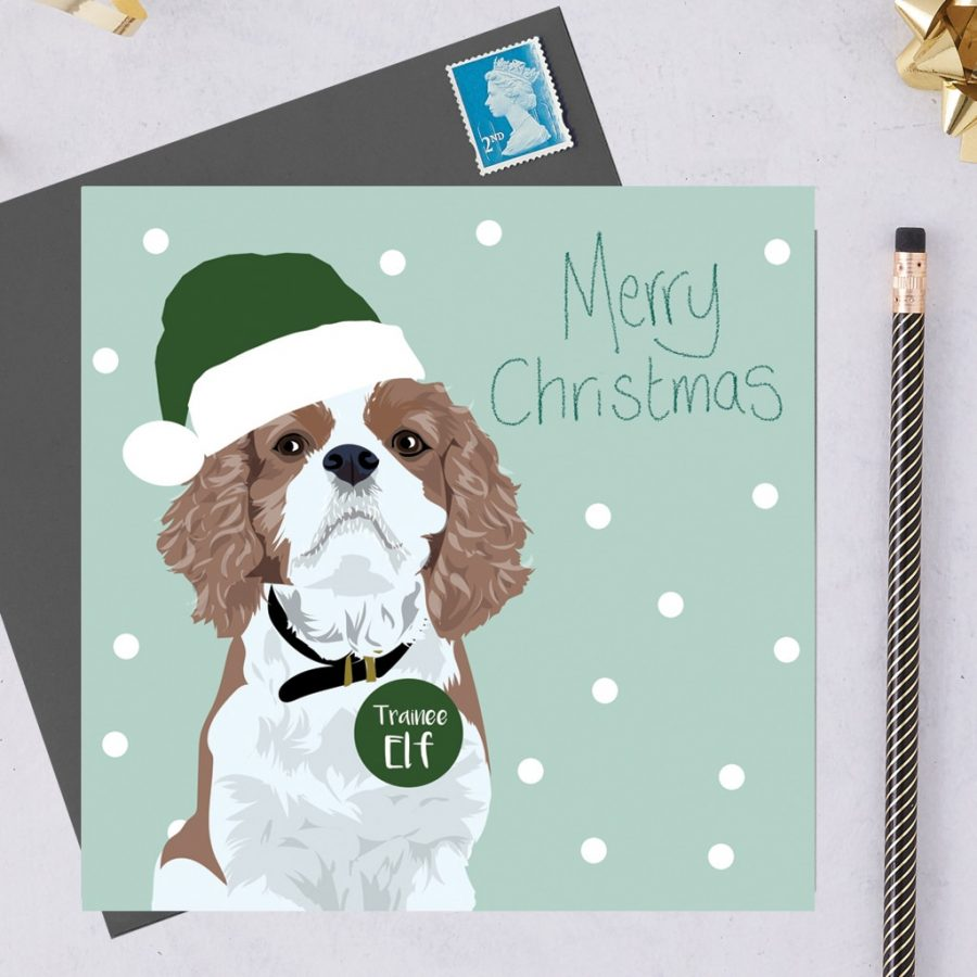 Christmas Card Luxury Designer Personalised Message Sustainable Environmentally Friendly FSC Paper Plastic Free hearing dogs dog charity card charity greetings cardCavalier king charles spaniel