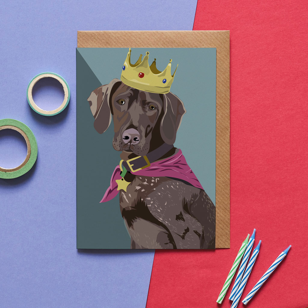 Greetings Card Luxury Designer Personalised Message Sustainable Environmentally Friendly FSC Paper Plastic Free - german pointer