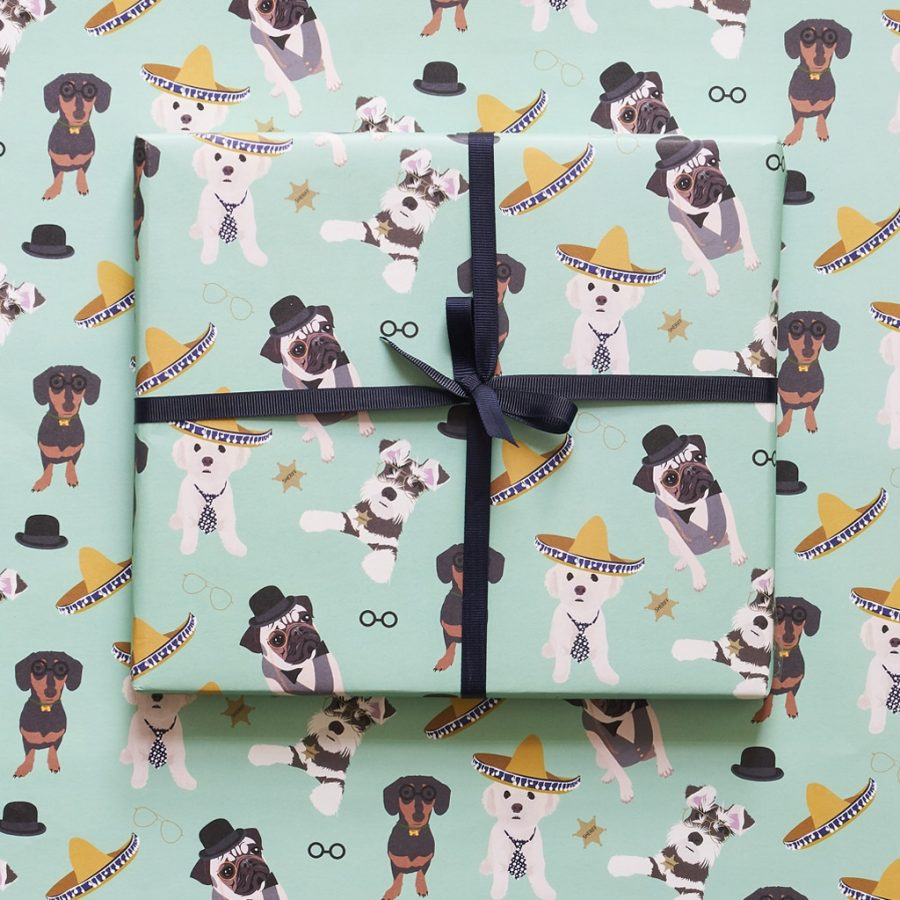 dog wrapping paper with pug, sausage dog and other popular dogs