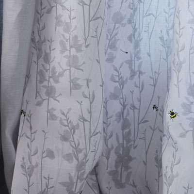 Grey bee fabric - Bee and broom grey - Lorna Syson - upholstery fabric