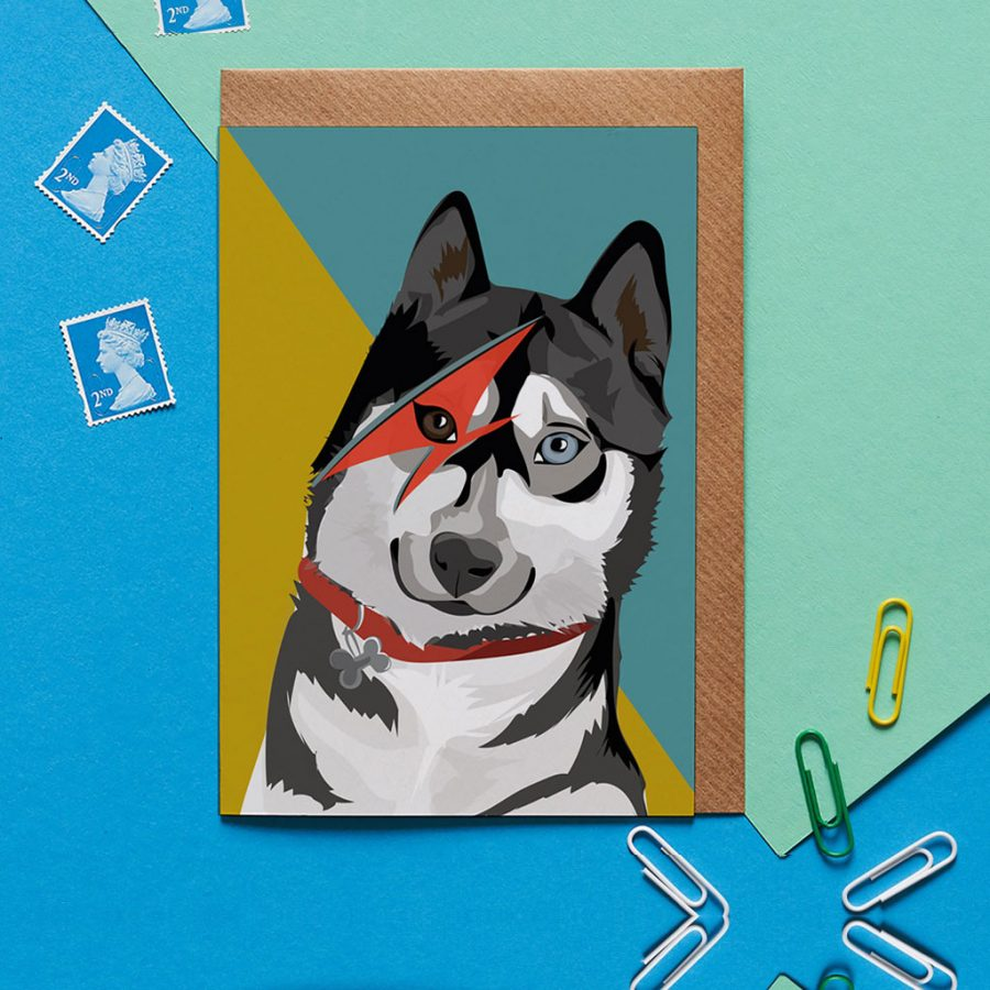 Greetings Card Luxury Designer Personalised Message Sustainable Environmentally Friendly FSC Paper Plastic Free - bowie husky