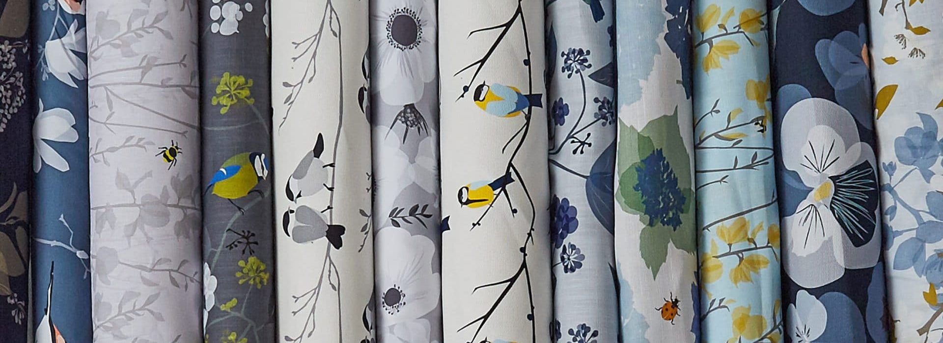 bird fabric and floral fabric by designer Lorna Syson