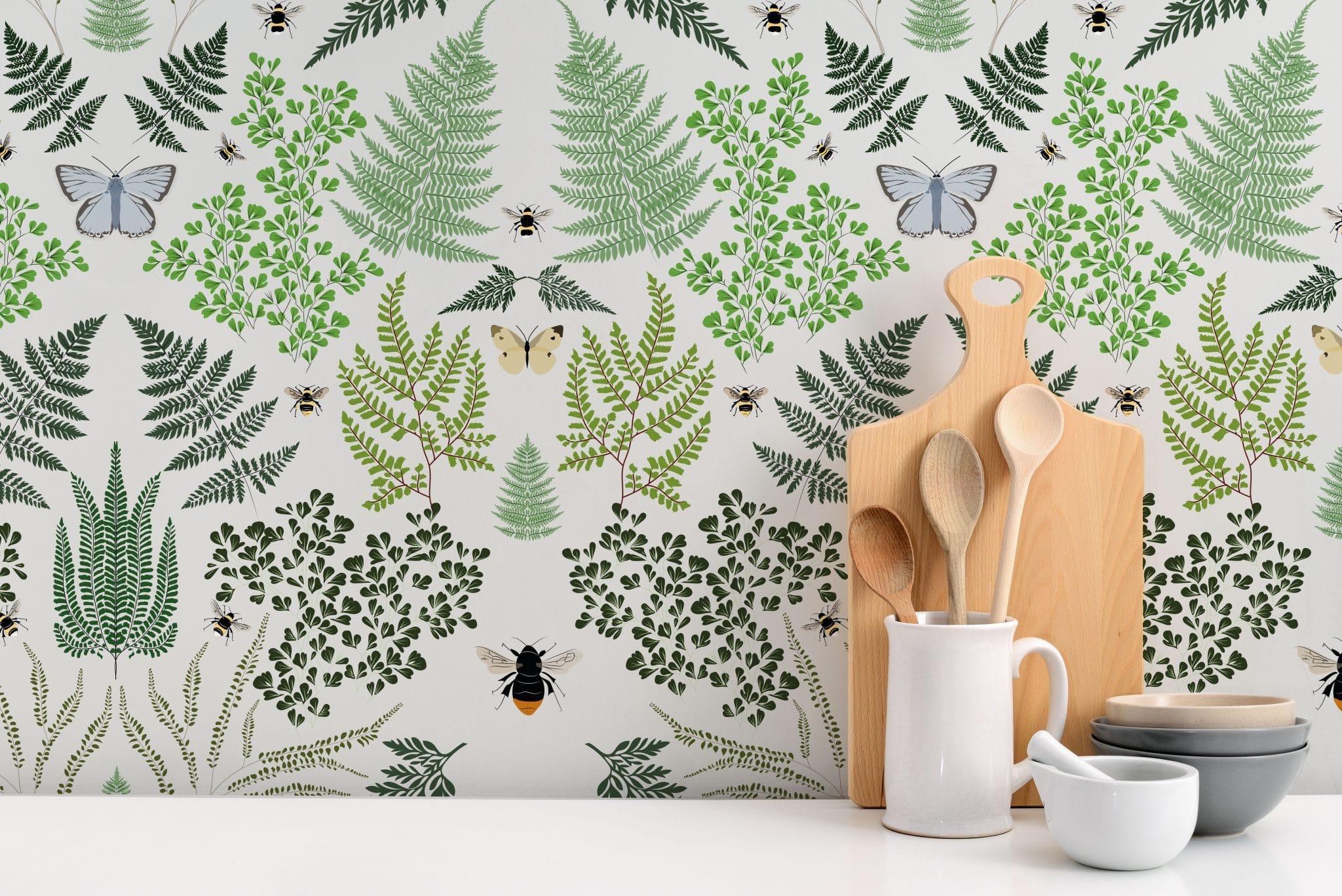 british wallpaper, ferns wallpaper, designer wallpaper, british designer wallpaper, green wallpaper, luxury wallpaper, fern design, leaf wallpaper, foliage wallpaper Lorna Syson