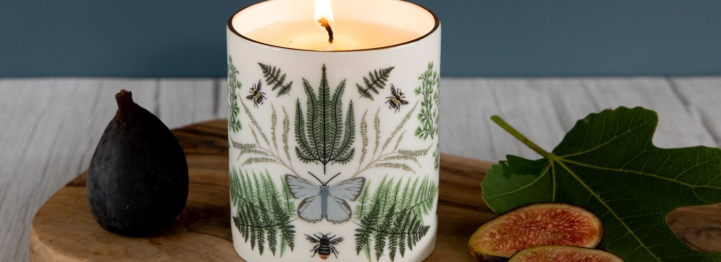 Luxury Ceramic Scented Candle Gifts Handmade UK Luxury Candles Reusable British Wilflowers English Yellow Bee Buttercup Designer Floral Butterfly Flowers Vegan Coconut Wax Fig