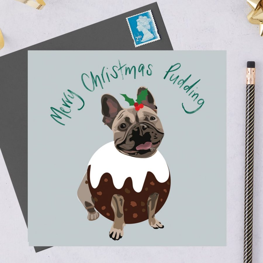 Christmas Card Luxury Designer Personalised Message Sustainable Environmentally Friendly FSC Paper Plastic Free hearing dogs dog charity card charity greetings card Christmas card - French Bulldog