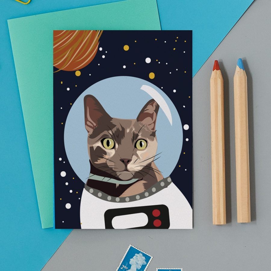 Greetings Card Luxury Designer Personalised Message Sustainable Environmentally Friendly FSC Paper Plastic Free - astro cat