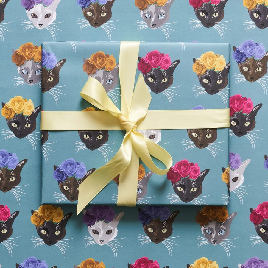 wrapping paper, luxury wrapping paper, gift wrap, plastic free, FSC Paper, enviromentally friendly, sustainable, birthday paper, birthday wrapping paper. gifts, frida kahlo cat