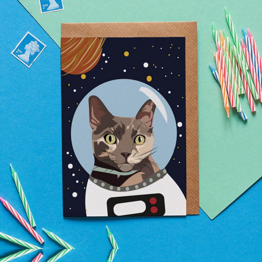 Cat Card - Frieda The Astro Space Cat