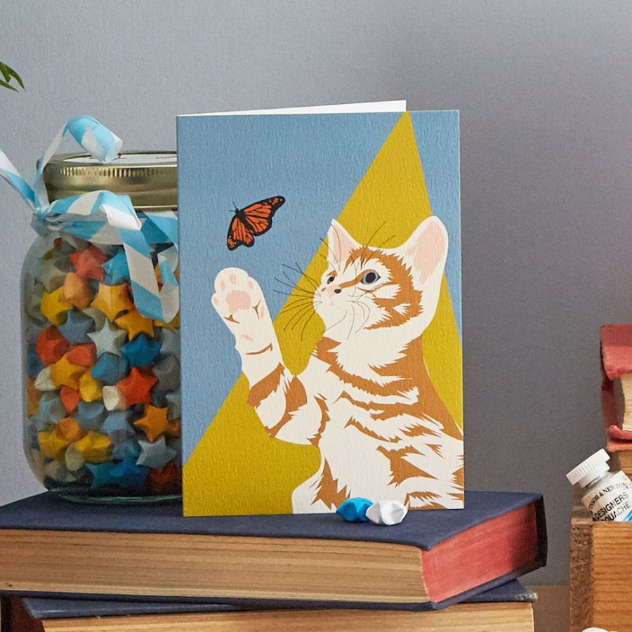 ginger cat greetings card lorna syson stationery