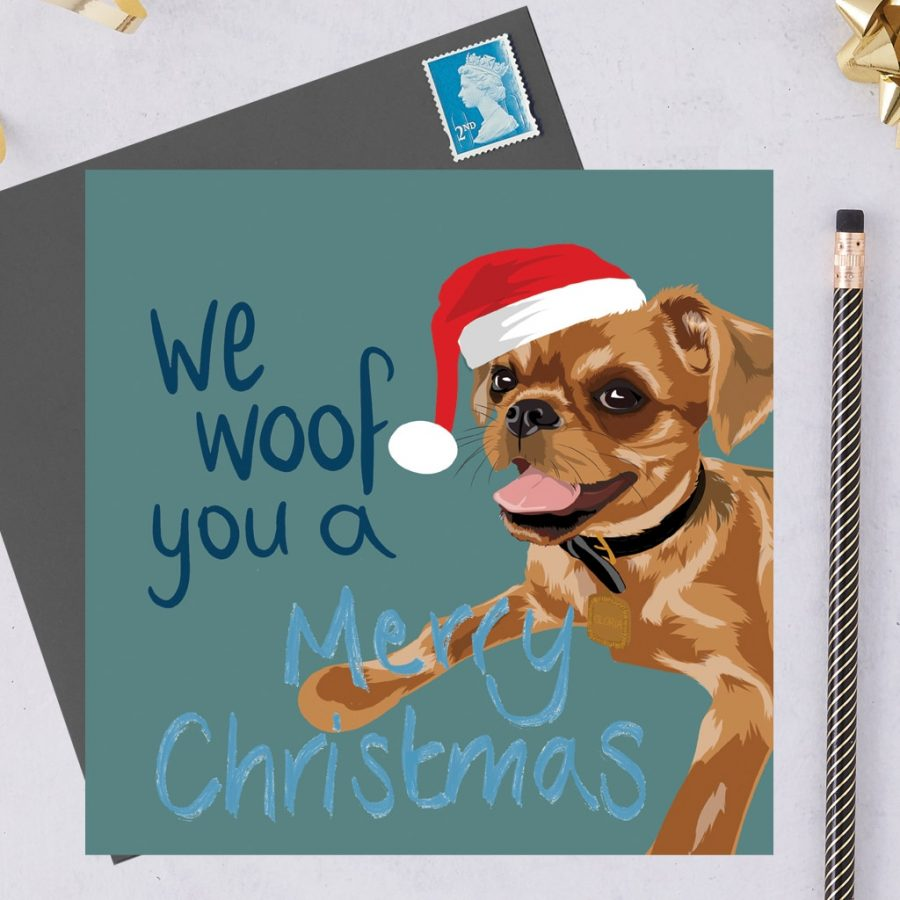 Christmas Card Luxury Designer Personalised Message Sustainable Environmentally Friendly FSC Paper Plastic Free hearing dogs dog charity card charity greetings cardCharity Christmas card - Brussels Griffon