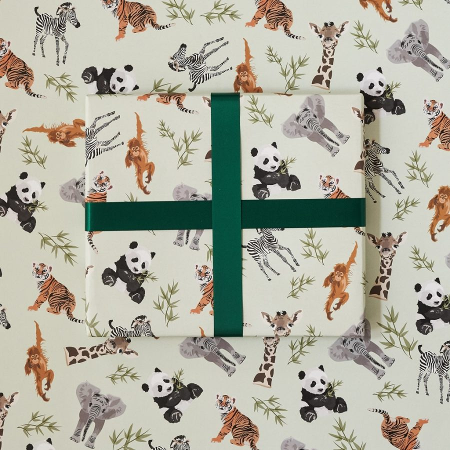 go wild gift wrap with elephant, giraffe, orangutang and panda