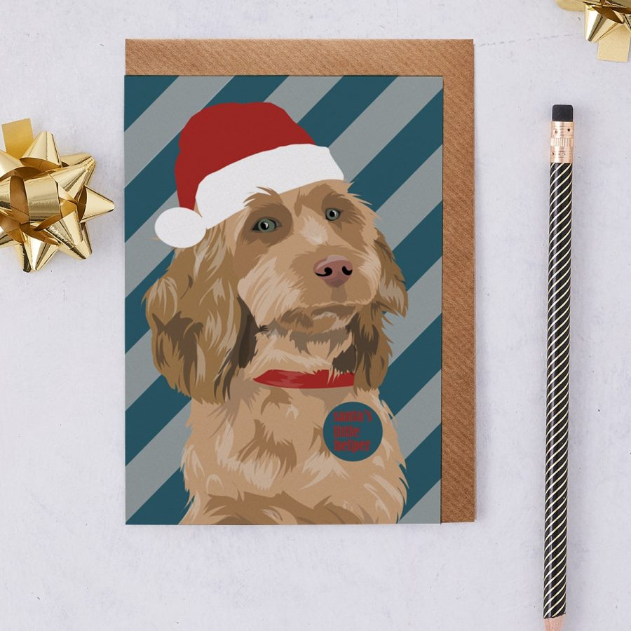 Christmas Cockapoo in a santa hat designed by Lorna Syson