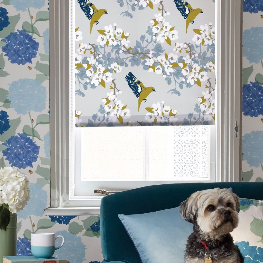 greenfinch roller blind - bird and apple blossom - lorna syson homeware