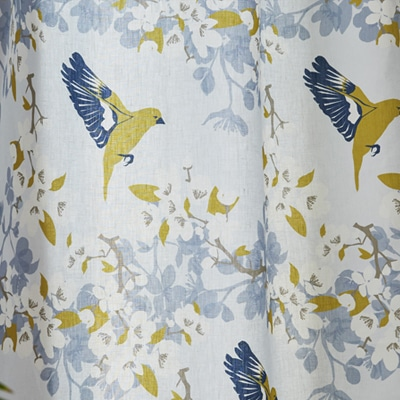 Green bird curtains - Greenfinch and apple blossom fabric for upholstery - Lorna Syson