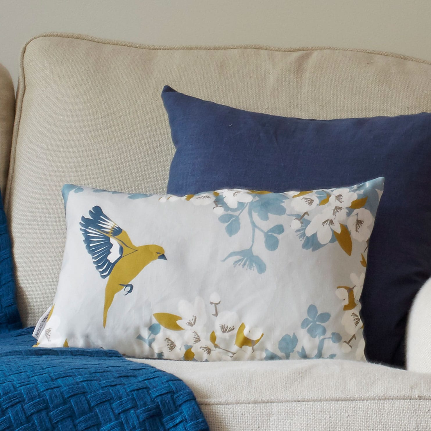 bird cushion - apple blossom and greenfinch - lorna syson interiors
