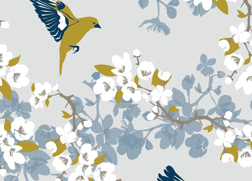 Greenfinch wallpaper and fabric