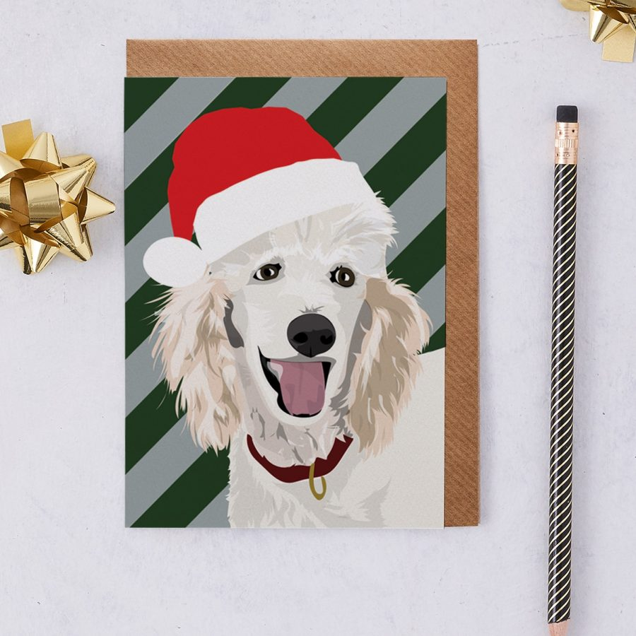 Christmas Card Luxury Designer Personalised Message Sustainable Environmentally Friendly FSC Paper Plastic Free - Christmas Poodle called Harley