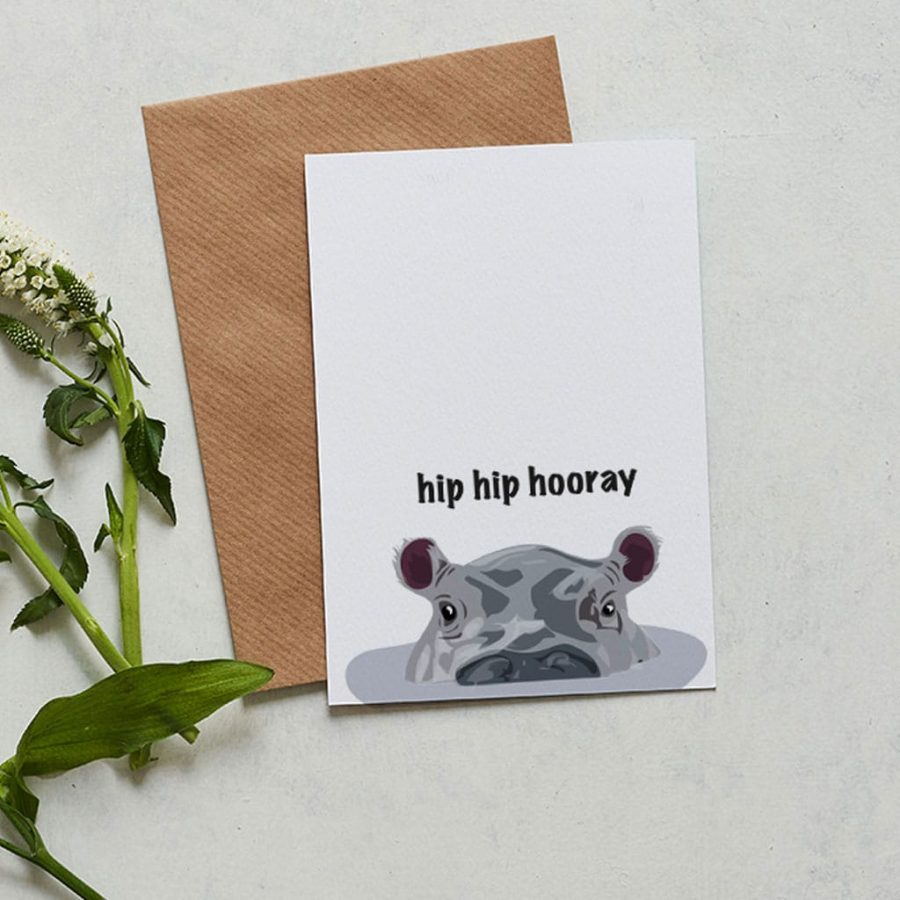 Birthday Card - Hippo Card - Lorna Syson Illustration