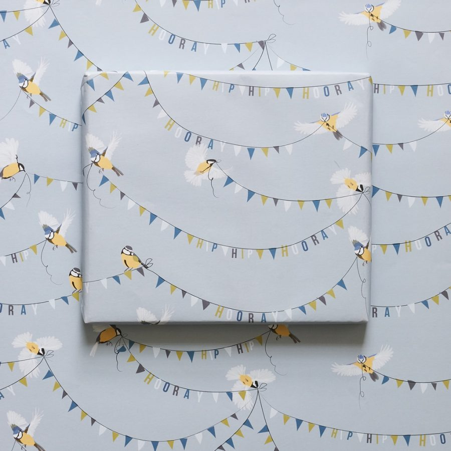 Hip Hip Hooray, send this when you or someone you love has something to celebrate! It features two blue tit's flying with bunting.