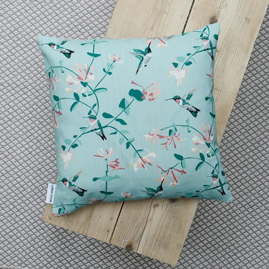 cushion, bird cushion, floral cushion, luxury cushion, designer cushion, uk designer, RSPB cushion, designer home, designer interiors, bird design, hummingbird mint design for the RSPB designed by Lorna Syson