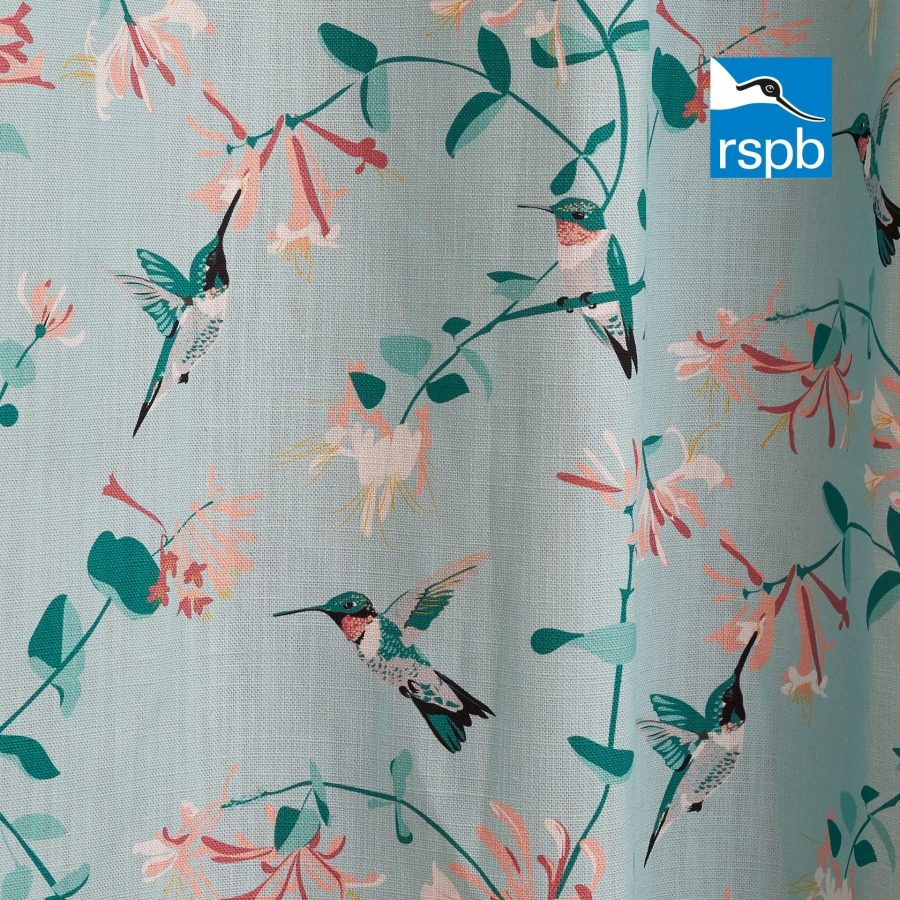 hummingbird mint fabric design, RSPB fabric designed by Lorna Syson