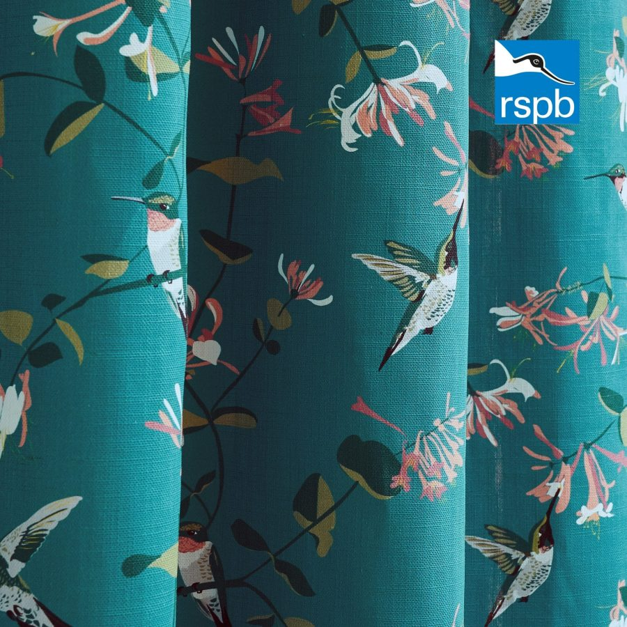 hummingbird teal RSPB fabric designed by Lorna Syson