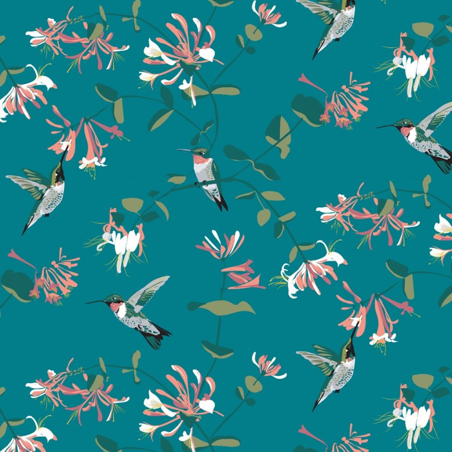 wallpaper, wallpaper deisgn, british wallpaper designer, designer home, hummingbird wallpaper teal wallpaper RSPB hummingbird mint wallpaper designed by Lorna Syson