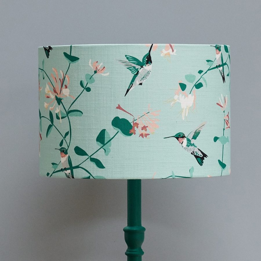 lampshade, designer lampshade, british lampshade, lighting, drum lampshade, lamp, hummingbird lampshade, mint lampshaderspb hummingbird mint lampshade designed by lorna syson