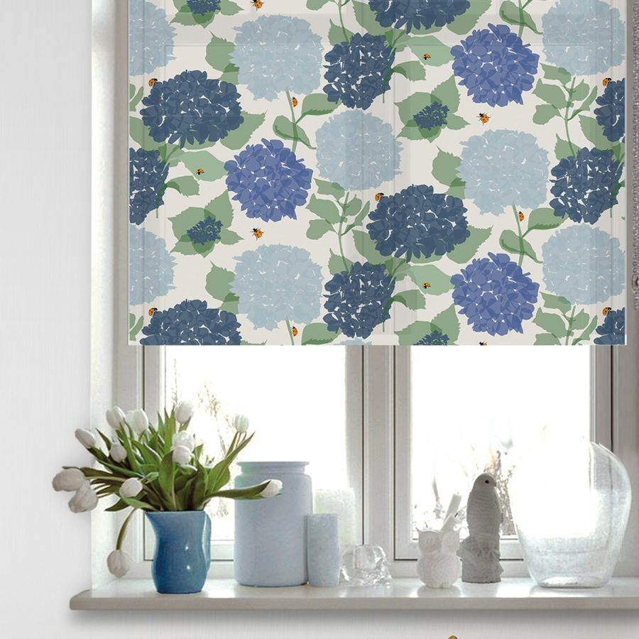 hydrangea roller blind - hydrangea and lady bird - lorna syson homeware