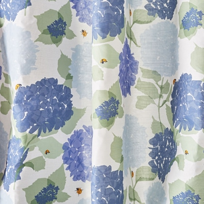 Blue and green floral curtains - ladybird fabric - Lorna Syson