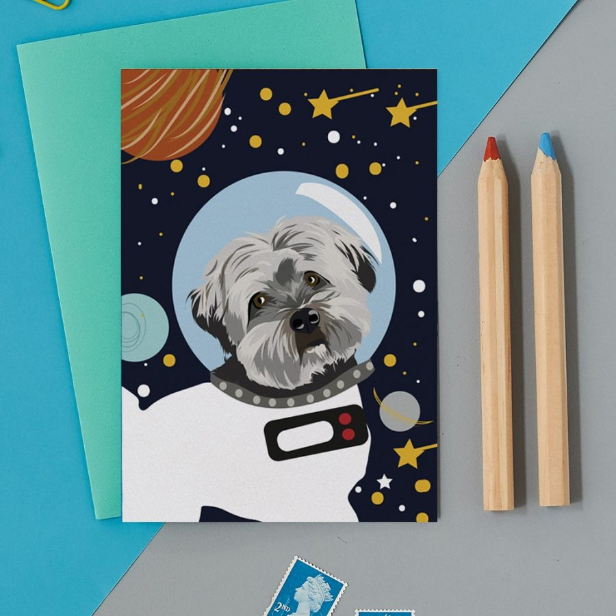 Greetings Card Luxury Designer Personalised Message Sustainable Environmentally Friendly FSC Paper Plastic Free - space dog