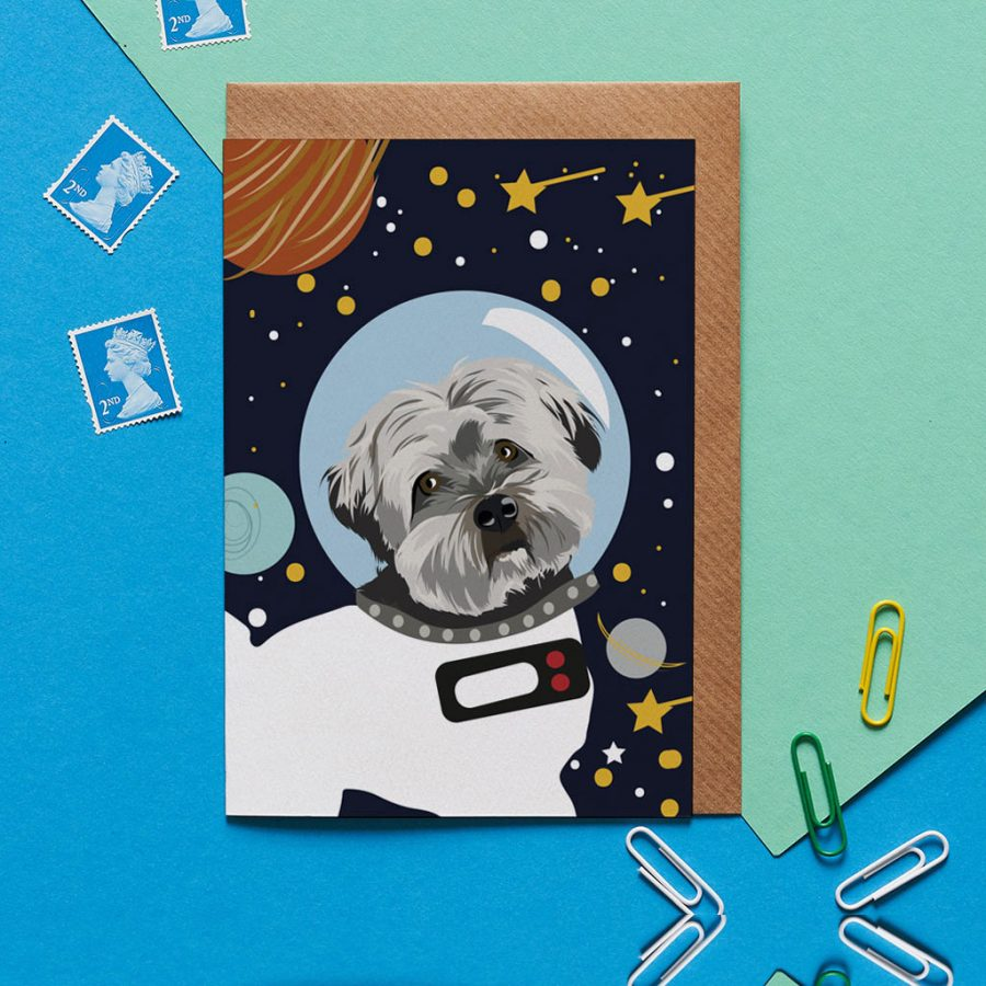 Dog in Space Card - Jenkins the Havanese - Lorna Syson