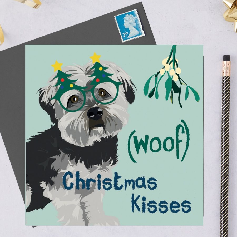Christmas Card Luxury Designer Personalised Message Sustainable Environmentally Friendly FSC Paper Plastic Free hearing dogs dog charity card charity greetings card Charity Christmas card - Jenkins the Havanese